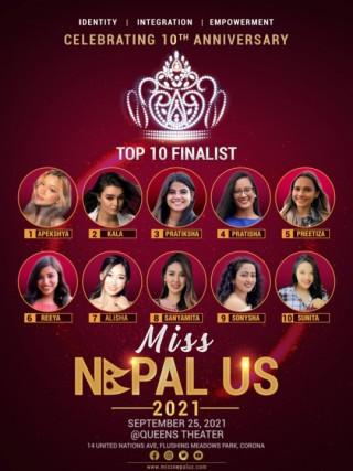 मिस नेपाल युएसमा १० प्रतियोगी