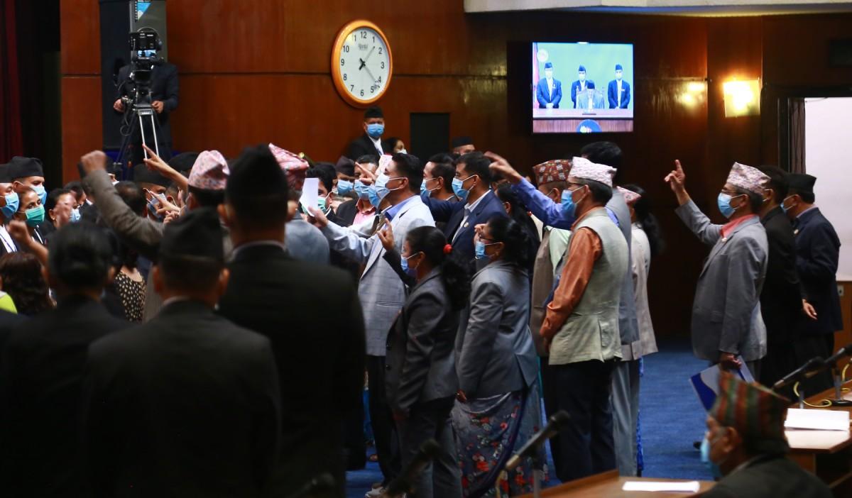 प्रतिनिधिसभा  बैठक  : ' प्रतिपक्षी दल एमालेबाट अवरोध कायमै'